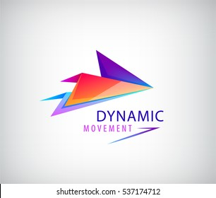 Abstract business logo icon design template arrow, origami dynamic sign. Vector color sign