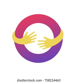 Abstract business logo icon design template with hands vector illustration