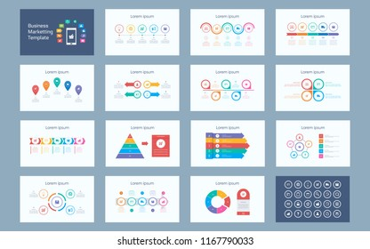 Abstract Business marketting infographics presentation set with icon in white color background