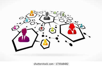 Abstract business network grid illustration
