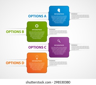 Abstract business options infographics template. Four colored quadrants on white with space for text.