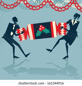 Abstract Business People enjoy Christmas Party. Vector illustration of Retro styled Businessman and Woman pulling a huge christmas cracker at their Christmas party to celebrate a year of success.