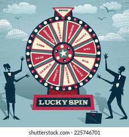 Abstrakt forretningsfolk med Financial Wheel of Fortune. Abstrakt Business tar den ultimate gamble på forretningsfutures ved å spille på Financial Wheel of Fortune.