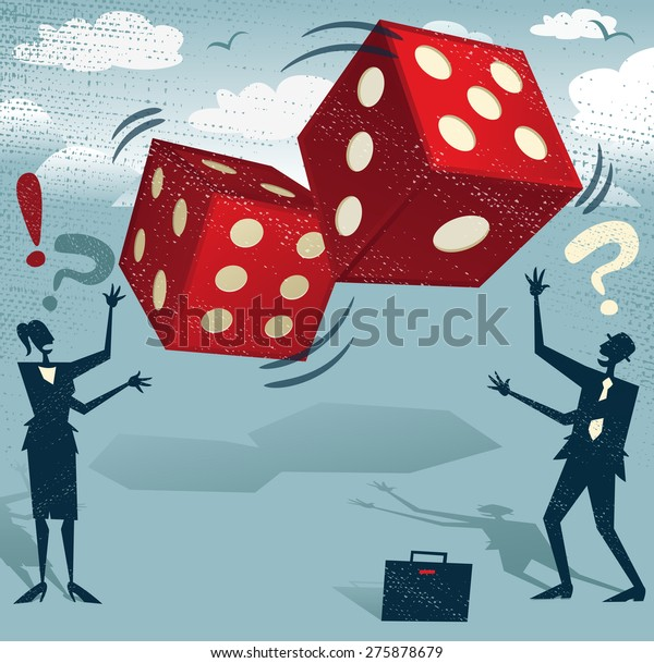 Abstract Business People take the ultimate gamble on their business futures by playing with the Gambling Dice of Fortune. Foolish or Brave.