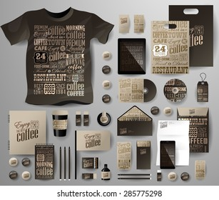 Abstract  business set for coffee shop, cafe . Corporate identity templates in typographic style, notebook, card, flag, T-shirt, disk, package,  label, envelope, pen, Tablet PC