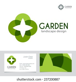Abstract Business sign & Business Card vector template. Vector icon & corporate identity template for landscape design / architecture, natural organic product line labeling, recycle, garden. Editable.