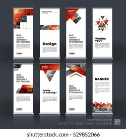 Abstract business vector set of modern roll Up Banner stand design template with square, triangle, arrow, icons for exhibition, fair, show, exposition, expo, presentation, festival, parade, events.