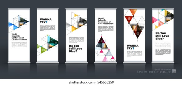 Abstract business vector set of modern roll Up Banner stand design template with triangles, polygons for exhibition, fair, show, exposition, expo, presentation, festival, parade, events.