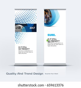 Abstract business vector set of modern roll Up Banner stand design template with blue rounds, circles, dots for eco, market, exhibition, show, expo, presentation, parade, events.