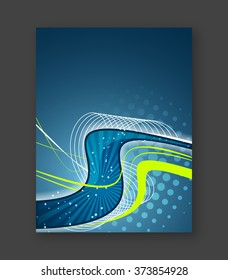 Abstract business wavy flyer, brochure or cover design/Vector illustration with place for your content or creative editing.