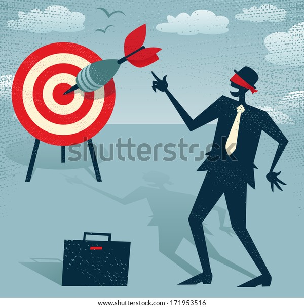 Abstract Businessman with Dart is Blindfolded. Great illustration of Retro styled Businessman who has an amazing sixth sense and can hit the target blindfolded.