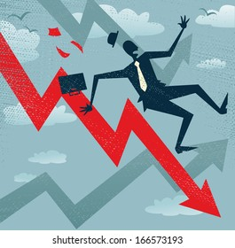 Abstract Businessman Falls down the Sales Chart. Great illustration of a Retro styled Businessman Tumbling down to the bottom of the corporate Sales Charts.