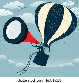 Abstract Businessman gets the best View of all Time. illustration of Retro styled Businessman with the fantastic idea to use his gigantic telescope in a Hot Air Balloon to get an edge on his rivals.