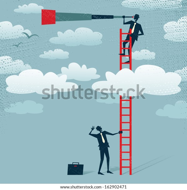Abstract Businessman gets a better view. Great illustration of Retro styled Businessman climbing above the clouds to get a better view of the landscape than his competitors.