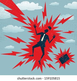 Abstract Businessman has a Big Shock. Vector illustration of Retro styled Businessman who has got a big shock from a huge bolt of lightening.