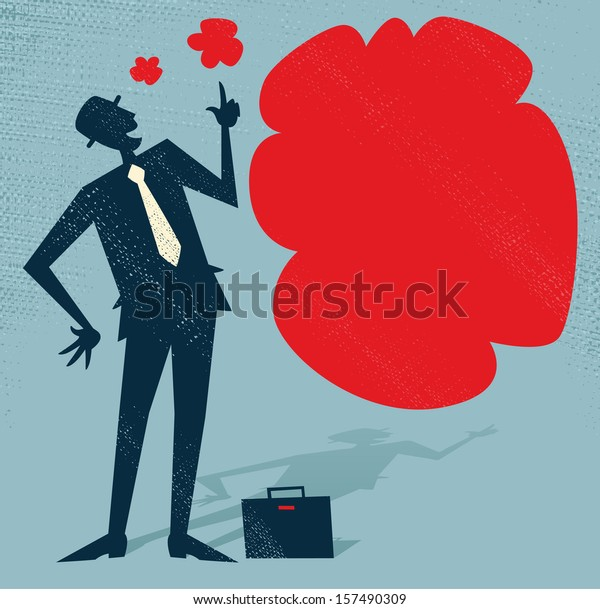 Abstract Businessman has an Idea. Vector illustration of Retro styled Businessman standing next to a huge thought bubble.