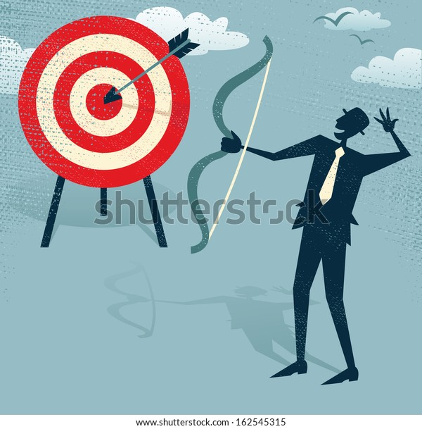 Abstract Businessman Hits the Sales Target.  Vector illustration of Retro styled Businessman hitting the corporate Sales Charts with a bow and arrow.