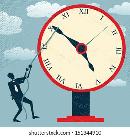 Abstract Businessman holding back Time. Vector illustration of Retro styled Businessman desperately trying to hold back time so he can make an important deadline.
