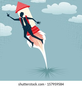 Abstract Businessman jets off with Rocket Pack. Vector illustration of Retro styled Businessman who has got a rocket up his backside as he tries to hit those sales targets.