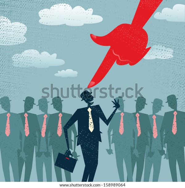 Abstract Businessman is Picked and Selected. Vector illustration of Retro styled Businessman picked out from the crowd by a huge people picking red hand. All recruitment Agencies need one of these!