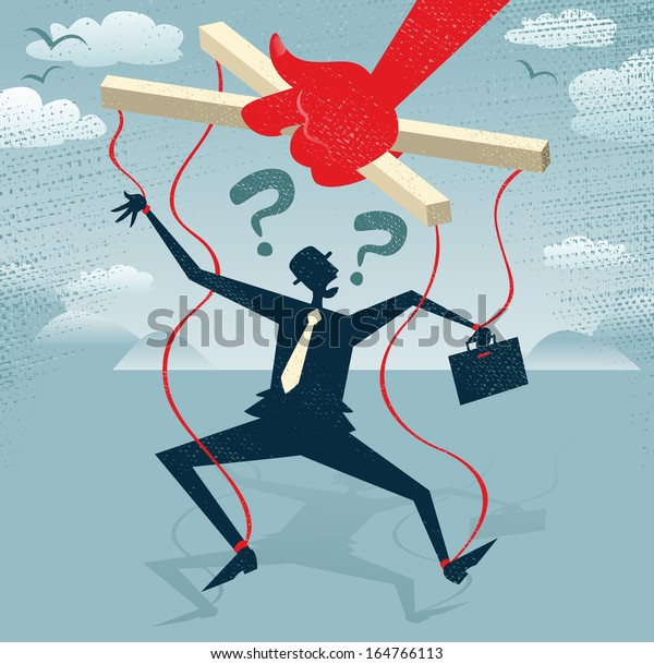 Abstract Businessman is a Puppet.  Great illustration of Retro styled Businessman caught up in bureaucratic red tape like a Puppet on a string.