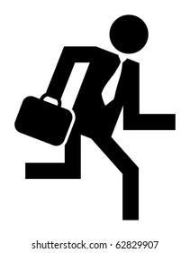 Abstract businessman running icon, vector illustration