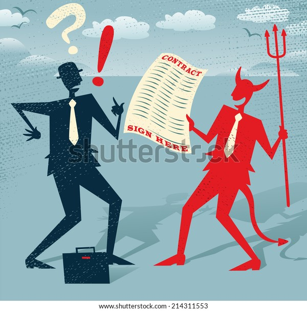Abstract Businessman signs a Deal with the Devil. Great illustration of Retro styled Abstract Businessman who is deciding whether to sign away his life in a deal with the devil.