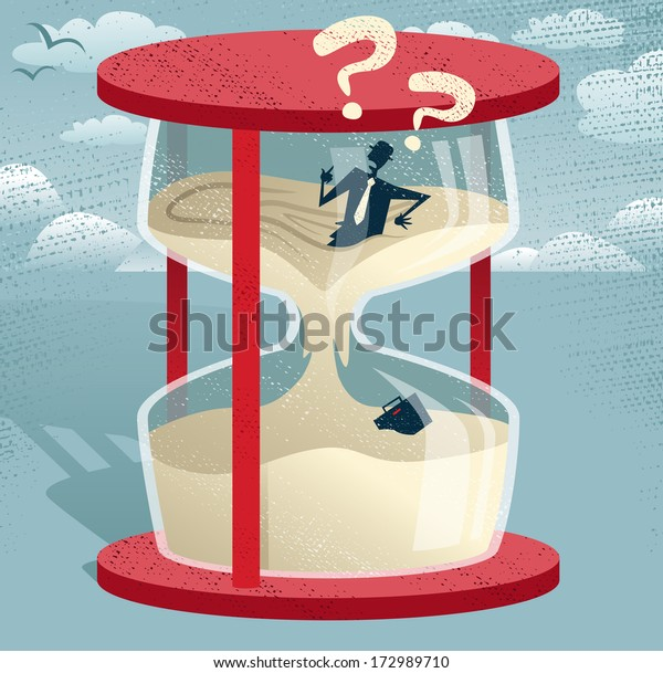 Abstract Businessman Trapped in Egg timer.  Great illustration of Retro styled Businessman desperately trying to hold back time as the sands of time get the better of him.