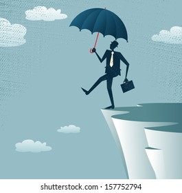 Abstract Businessman walks off a cliff. Vector illustration of Retro styled Businessman walking off the cliffs or maybe its a leap of faith.