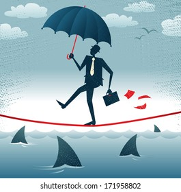 Abstract Businessman walks Tightrope with Confidence. Great illustration of Retro styled Businessman walking carefully across a very high tightrope with his umbrella for added protection.
