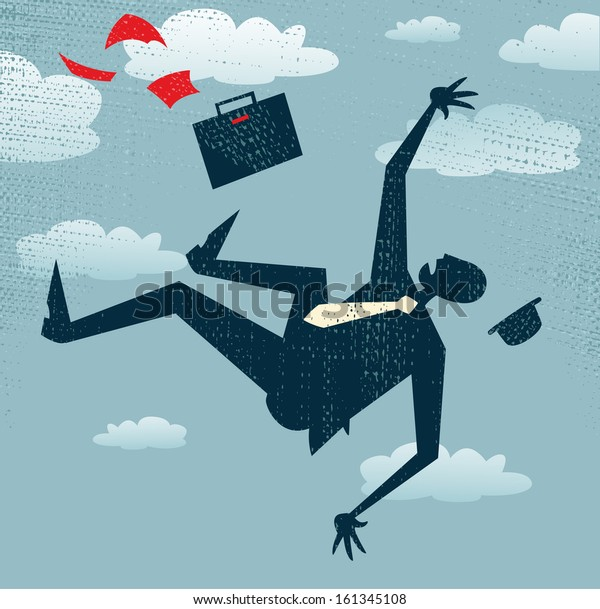 Abstract Businessman's career is in Free fall. Vector illustration of Retro styled Businessman is in Free fall as his career takes a fall.