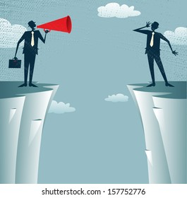 Abstract Businessmen communicating from distance. Vector illustration of Businessman standing on the cliffs shouting through a loudspeaker to his colleague who is trying to hear him.