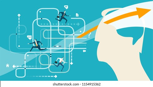 Abstract businessmen controlling and analysing the working process and company structure function. Consultancy and support. Business concept illustration