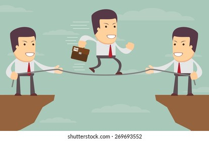 Abstract Businessmen Pulling together on a cliff. Vector illustration of Retro styled Businessman helping and pulling together to assist their stranded colleague on the top of the cliffs.
