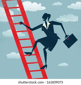 Abstract Businesswoman climbs up the Corporate Ladder.  Vector illustration of Retro styled Businesswoman climbing to the top of the corporate ladder of success.