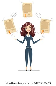 Abstract Businesswoman holding a diploma or patent. Women in business. For use in presentations. Stock flat vector illustration