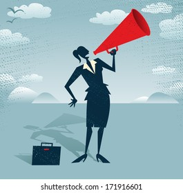 Abstract Businesswoman with Megaphone.  Great illustration of Retro styled Businesswoman shouting at the top of her voice through a loudspeaker megaphone.