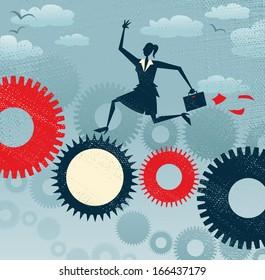 Abstract Businesswoman runs on a machine. Great illustration of Retro styled Businesswoman running like the wind on a giant cog machine in order to keep the business working.