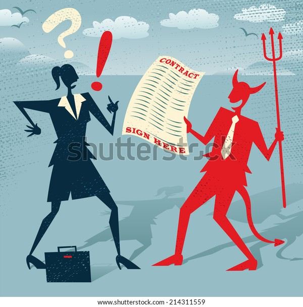 Abstract Businesswoman signs a Deal with the Devil. Great illustration of Retro styled Abstract Businesswoman who is deciding whether to sign away her life in a deal with the devil.