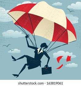Abstract Businesswoman uses her Parachute. Great illustration of Retro styled Businesswoman who's remembered to pack her parachute and land to safety in the business landscape.