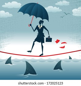 Abstract Businesswoman walks Tightrope with Confidence. Great illustration of Retro styled Businesswoman walking carefully across a very high tightrope with her umbrella for added protection.