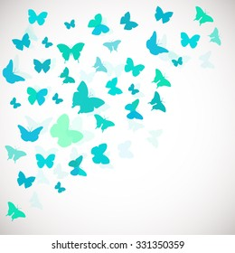 Abstract Butterfly Background. Vector illustration of blue butterflies. Corner background for wedding, greeting, invitation card, poster, banner and other design