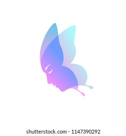 abstract Butterfly Female Face. Vector Illustration