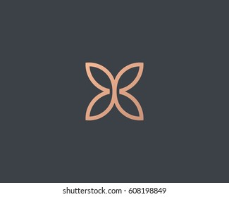 Abstract butterfly flower simple vector logotype. Line minimal universal luxury icon logo.