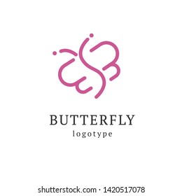 Abstract Butterfly illustration. Manicure, styling, haircut, makeup, stylist, fashion logo design. Model agency, Women's beauty salon, massage, cosmetic vector logotype template.