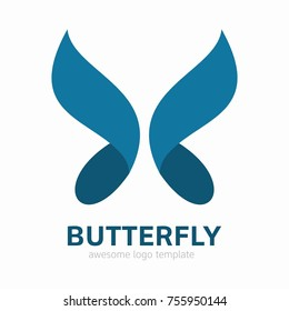 Abstract Butterfly logo template. Awesome logo for beauty, fashion, women.