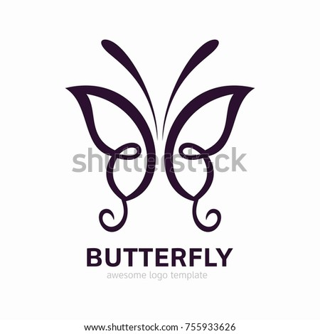 Erfly Template | Abstract Butterfly Logo Template Awesome Logo Stock Vektorgrafik