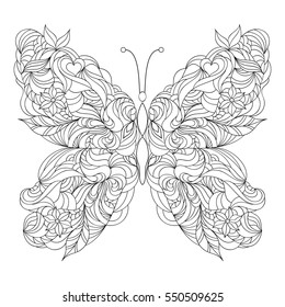 Abstract butterfly on white background.Coloring page for adult.Vector illustration.