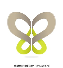 Abstract butterfly ribbon Eco logo icon