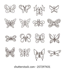 Abstract butterfly set. Vector illustration.